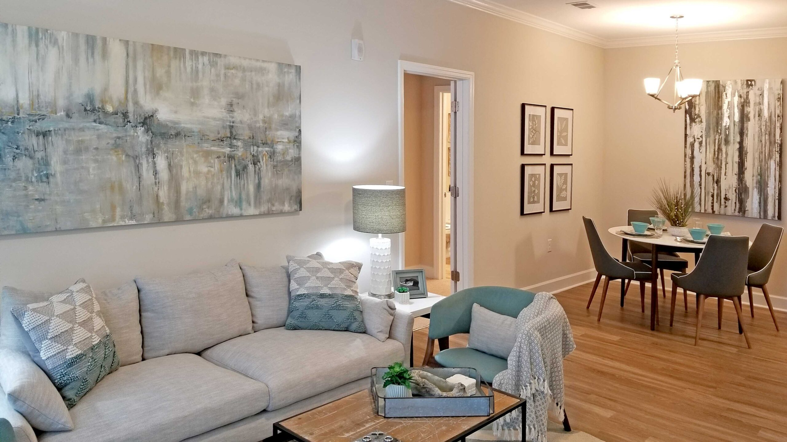 Preserve apartments in Morehead City decorated living room