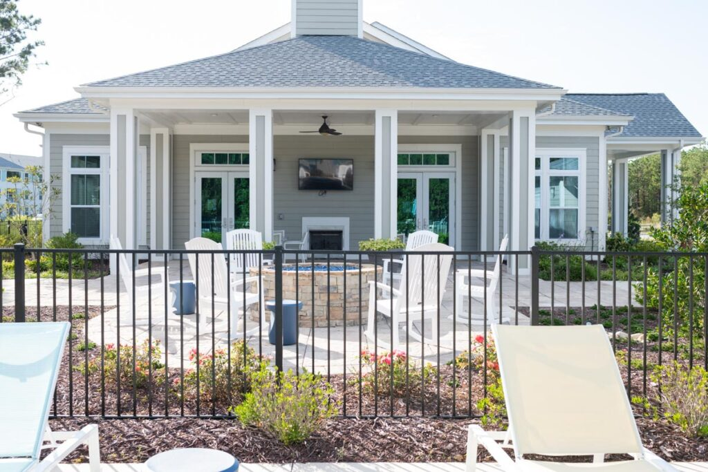 Preserve apartments in Morehead City clubhouse with fire pit
